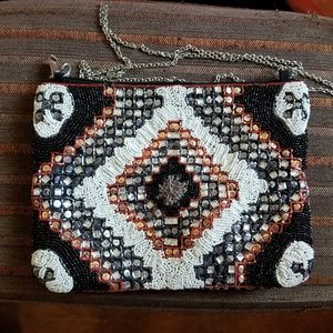 Beaded Cross Body Clutch Bag